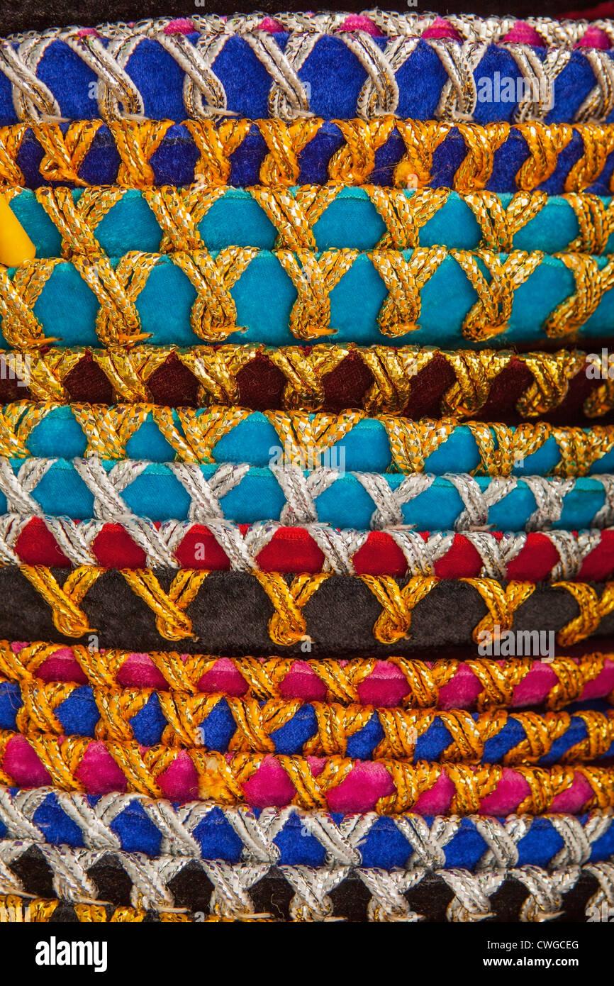 Close-up detail of color stack of sombreros, Market 28 (Mercado 28), Cancun, Yucatan Peninsula, Quintana Roo, Mexico - Stock Image