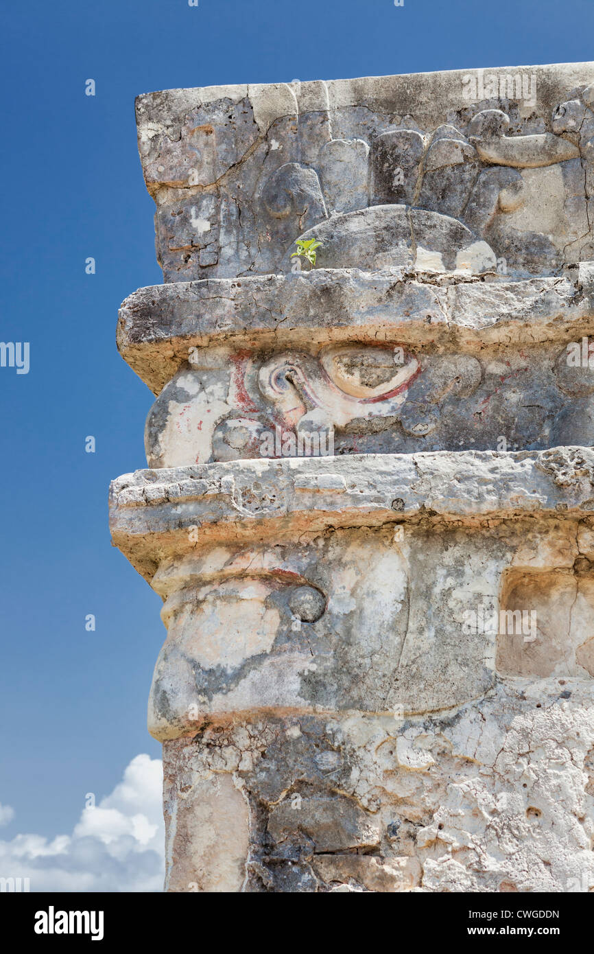 Face of Chaac the Mayan rain god carved in stone, Temple of the Frescoes, Tulum, Yucatan Peninsula, Quintana Roo, - Stock Image