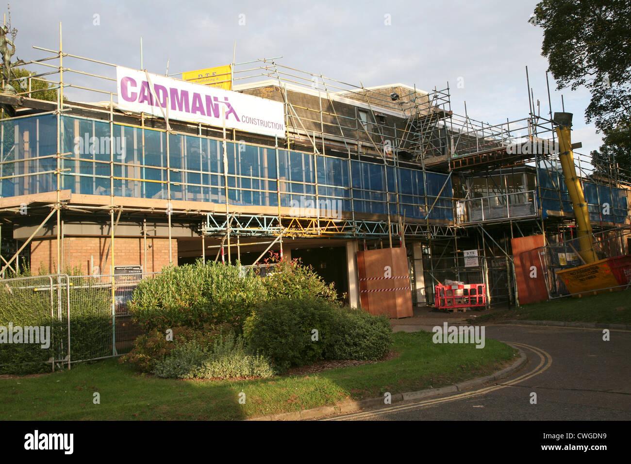 Cadman Construction scaffolding Mercury theatre Colchester Essex England - Stock Image