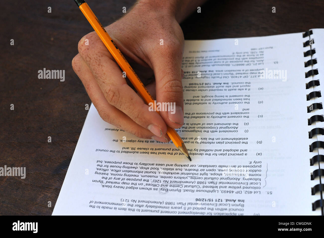 paperwork pencil - Stock Image
