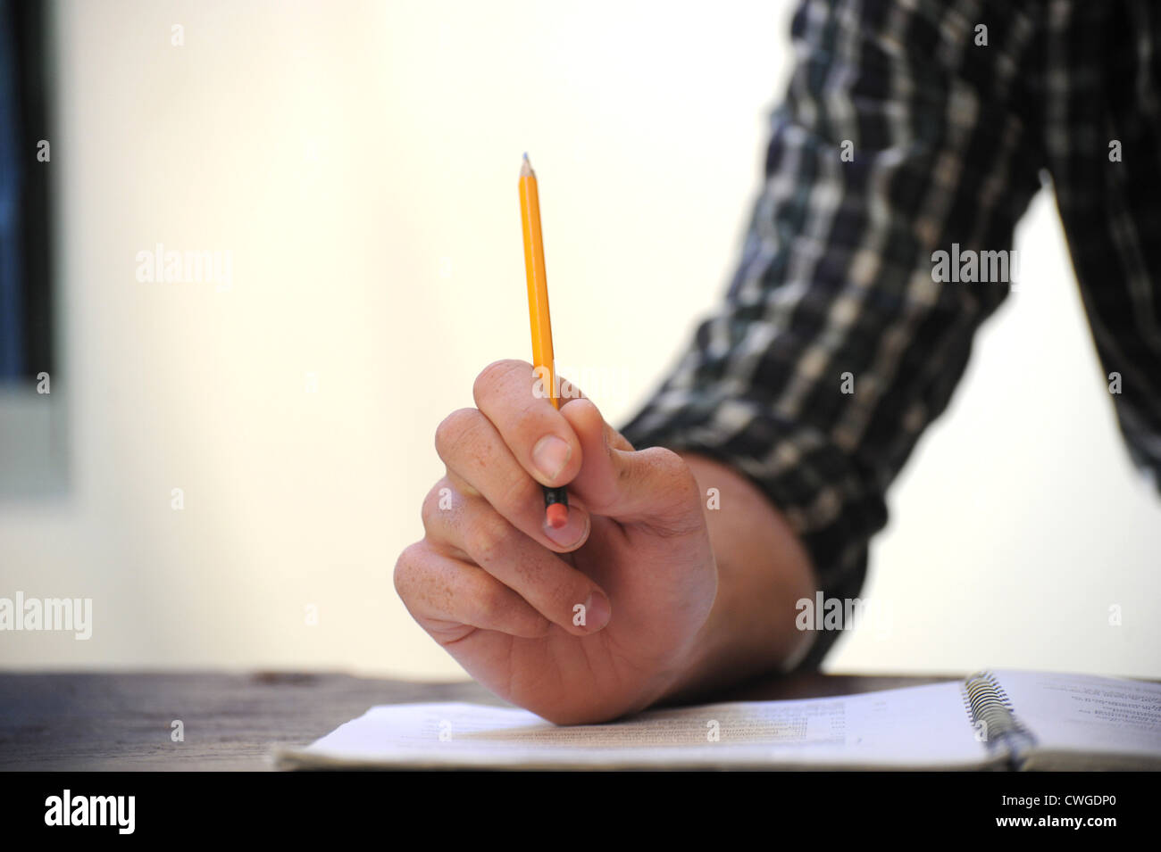 paperwork pencil hand - Stock Image