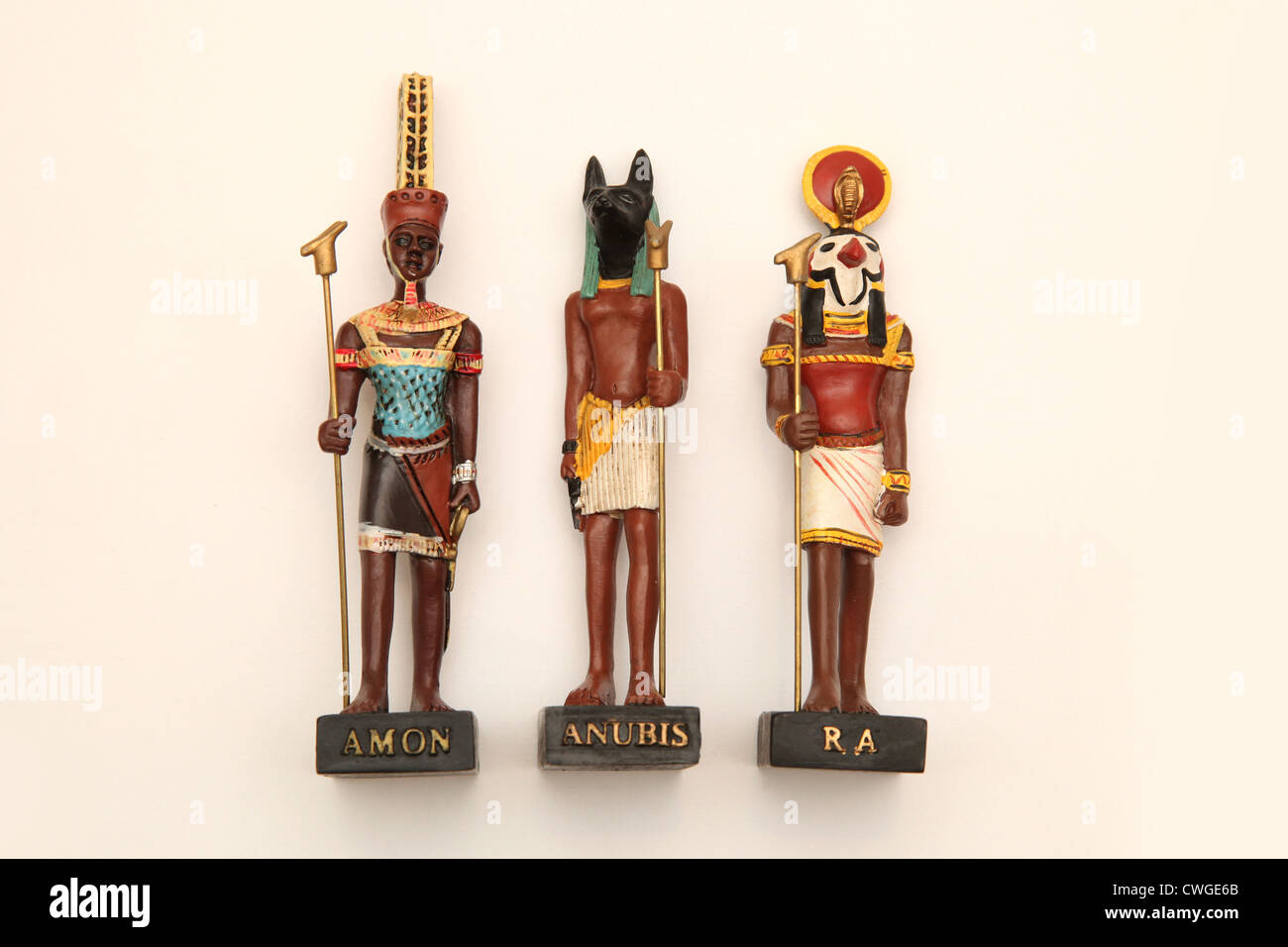 Collectible Egyptian model figures, The Gods Anubis, Ra and Amon. - Stock Image