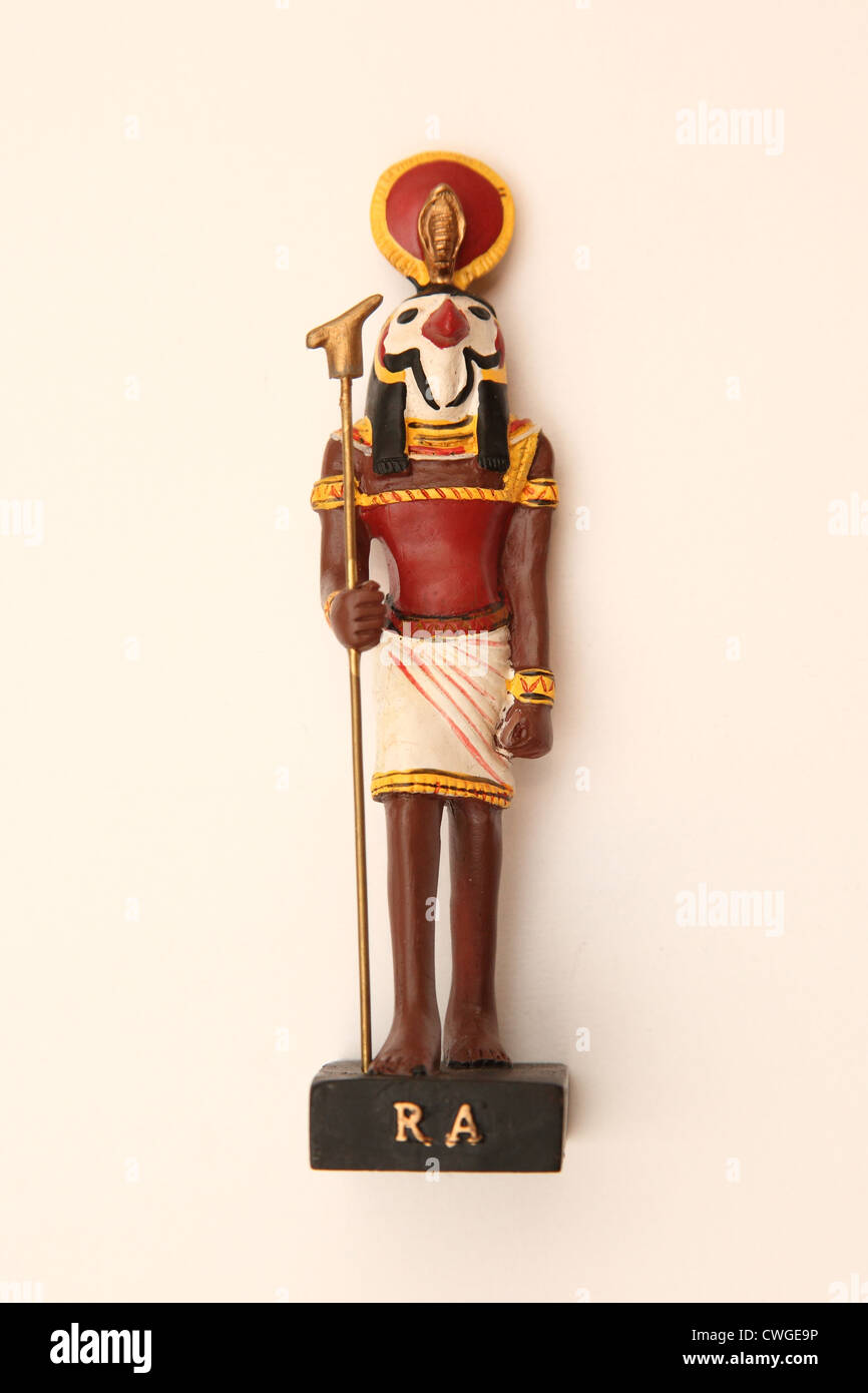 A collectible Egyptian model figure, The God Ra. - Stock Image