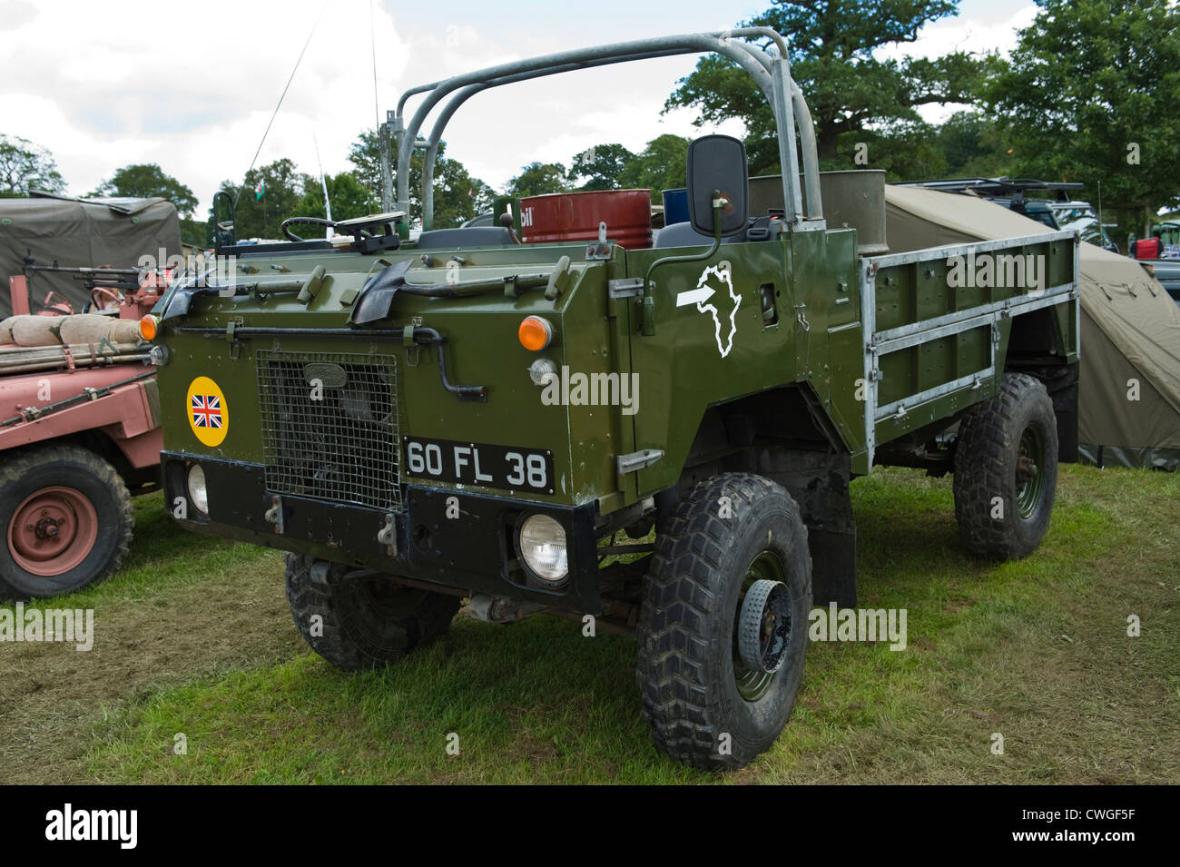 Display of Land Rover 4x4 military vehicles at annual Eastnor Land