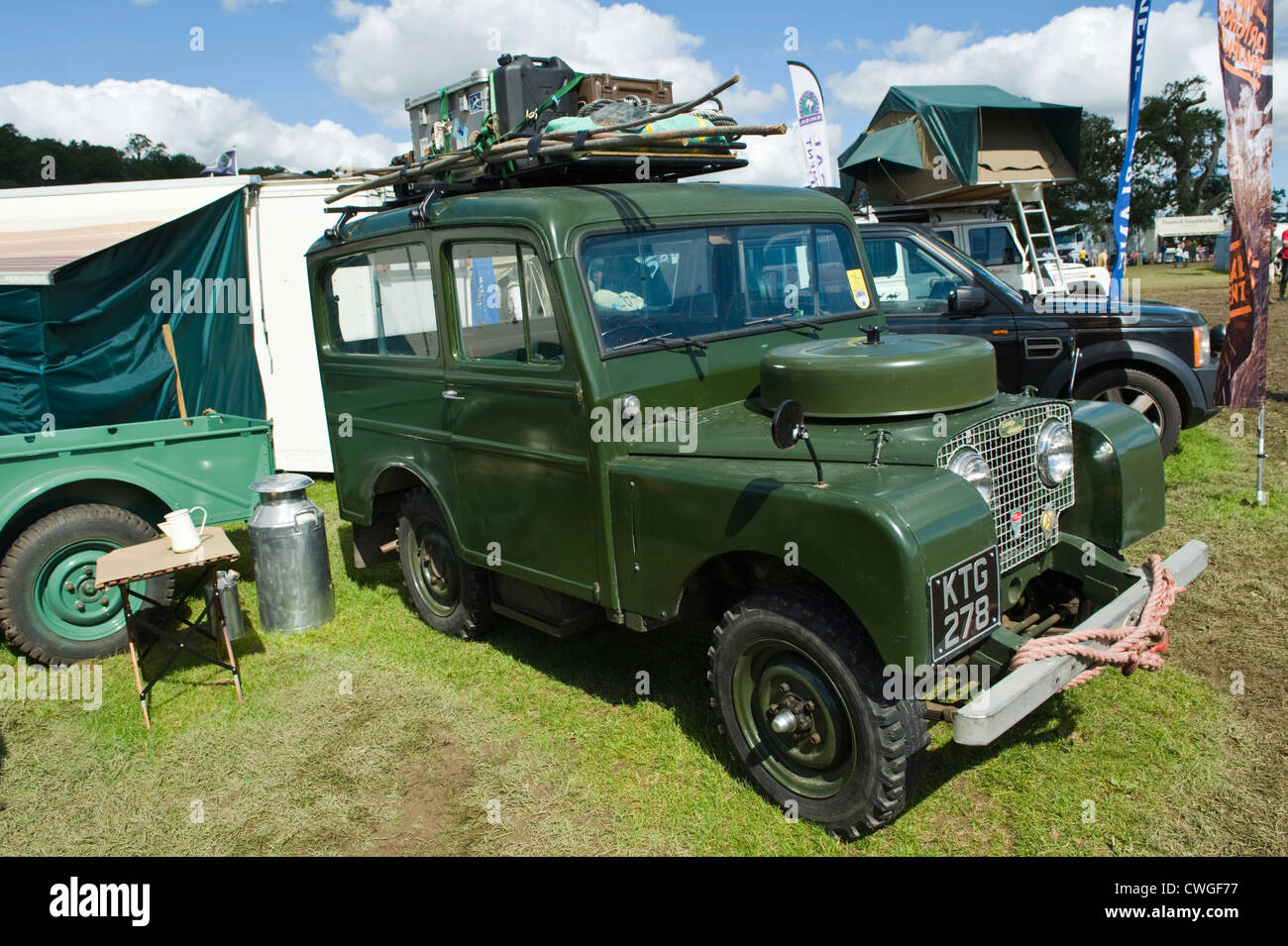 Display of old historic restored Land Rover 4x4 vehicles at annual
