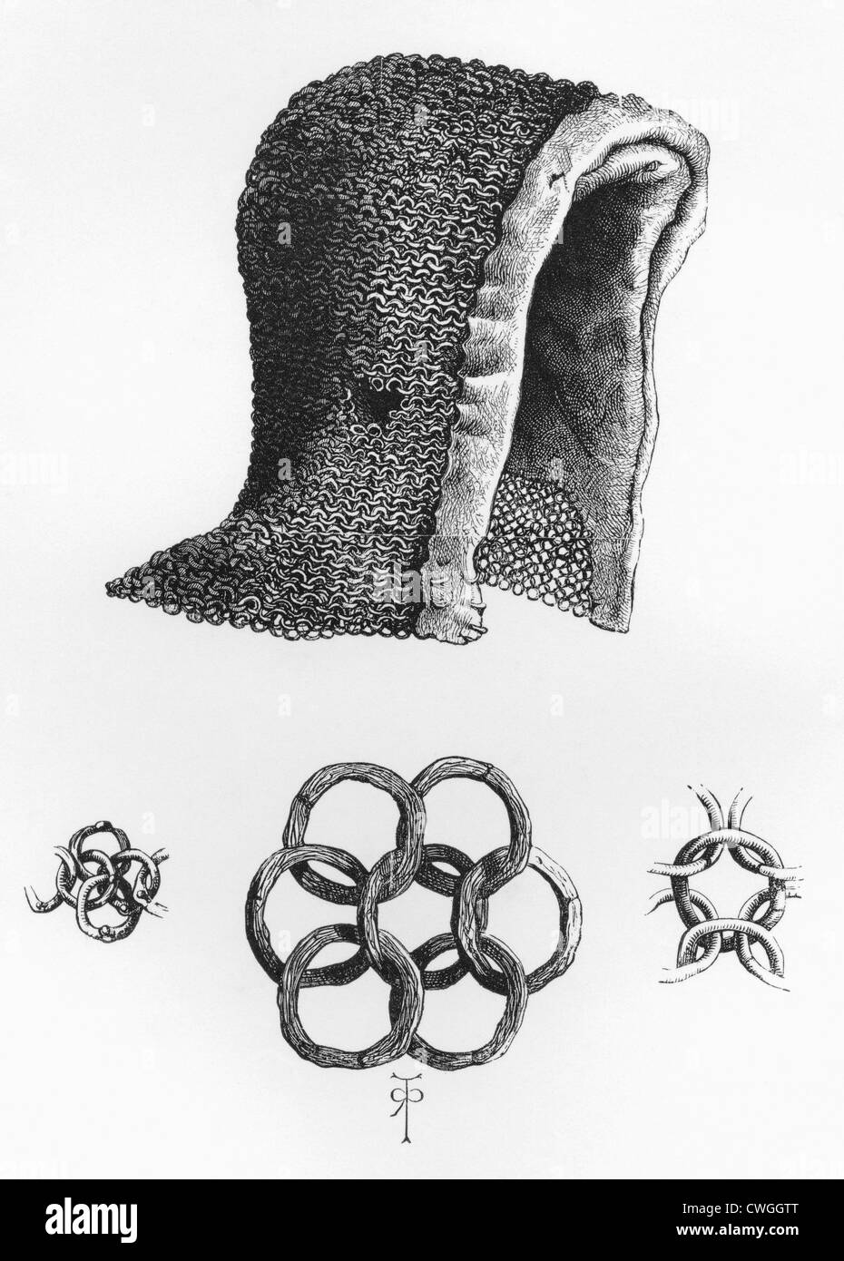 Chain mail hood and example of interlocking chain mail, c. A.D. 1120. - Stock Image