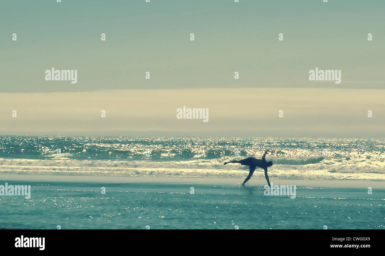 Vintage Beach Cartwheel Stock Photo