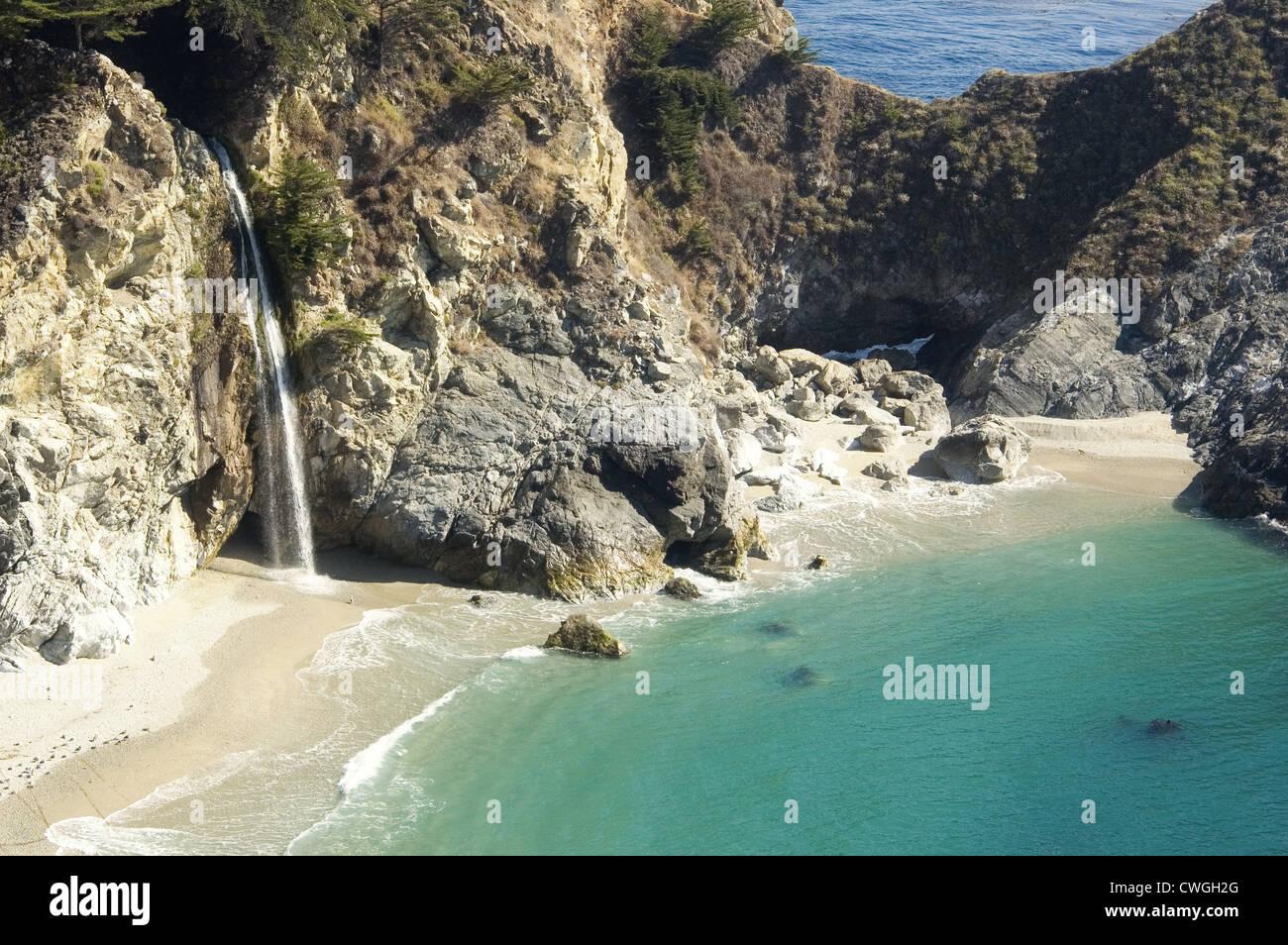 Waterfall Onto BeachStock Photo
