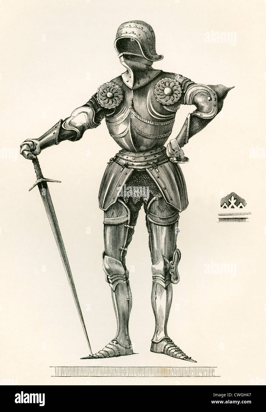 Suit of Gothic Armour, known as á la Poulaine, dating from A.D. 1450. - Stock Image