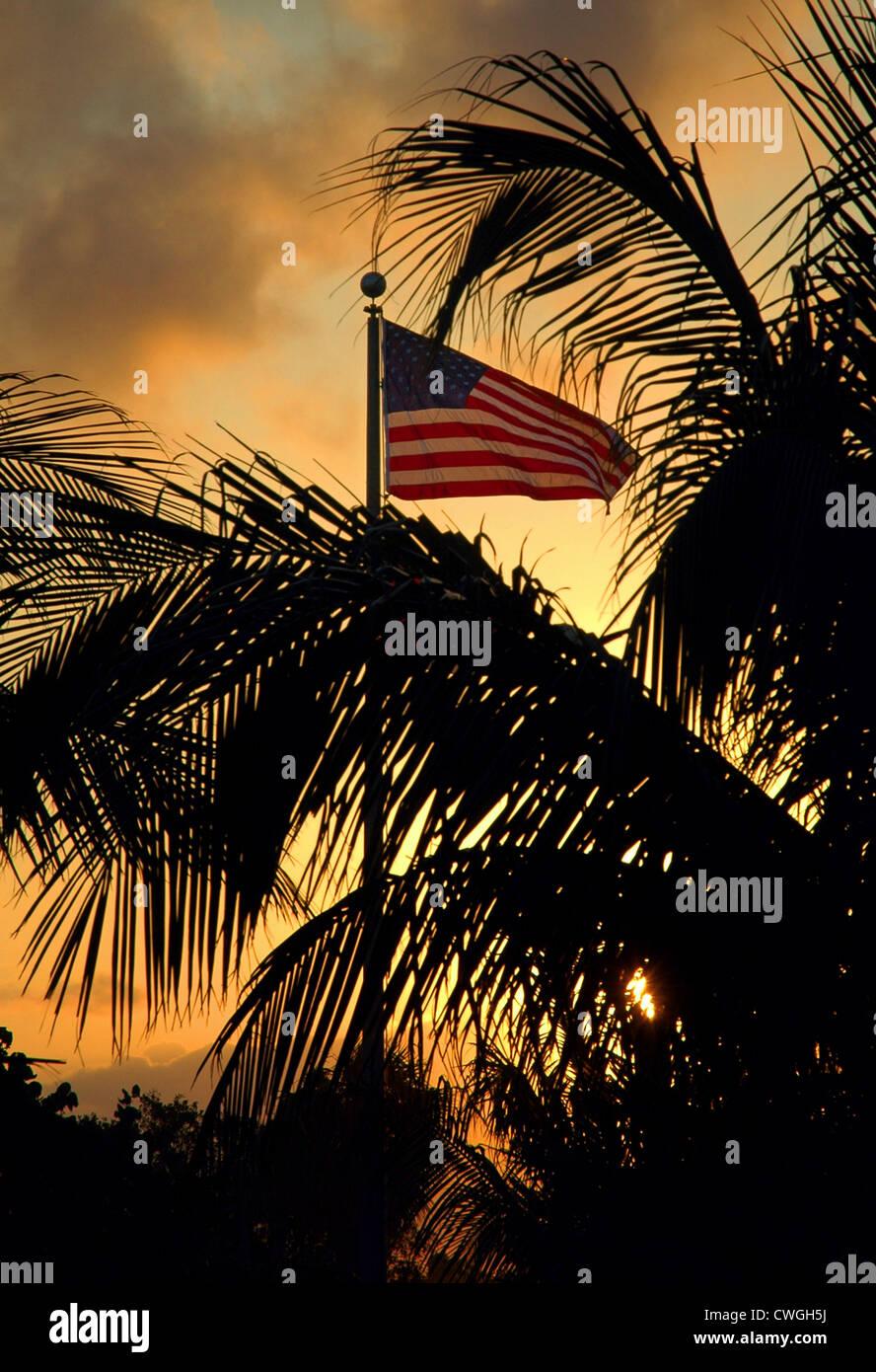 USA Flag At Sunset Stock Photo