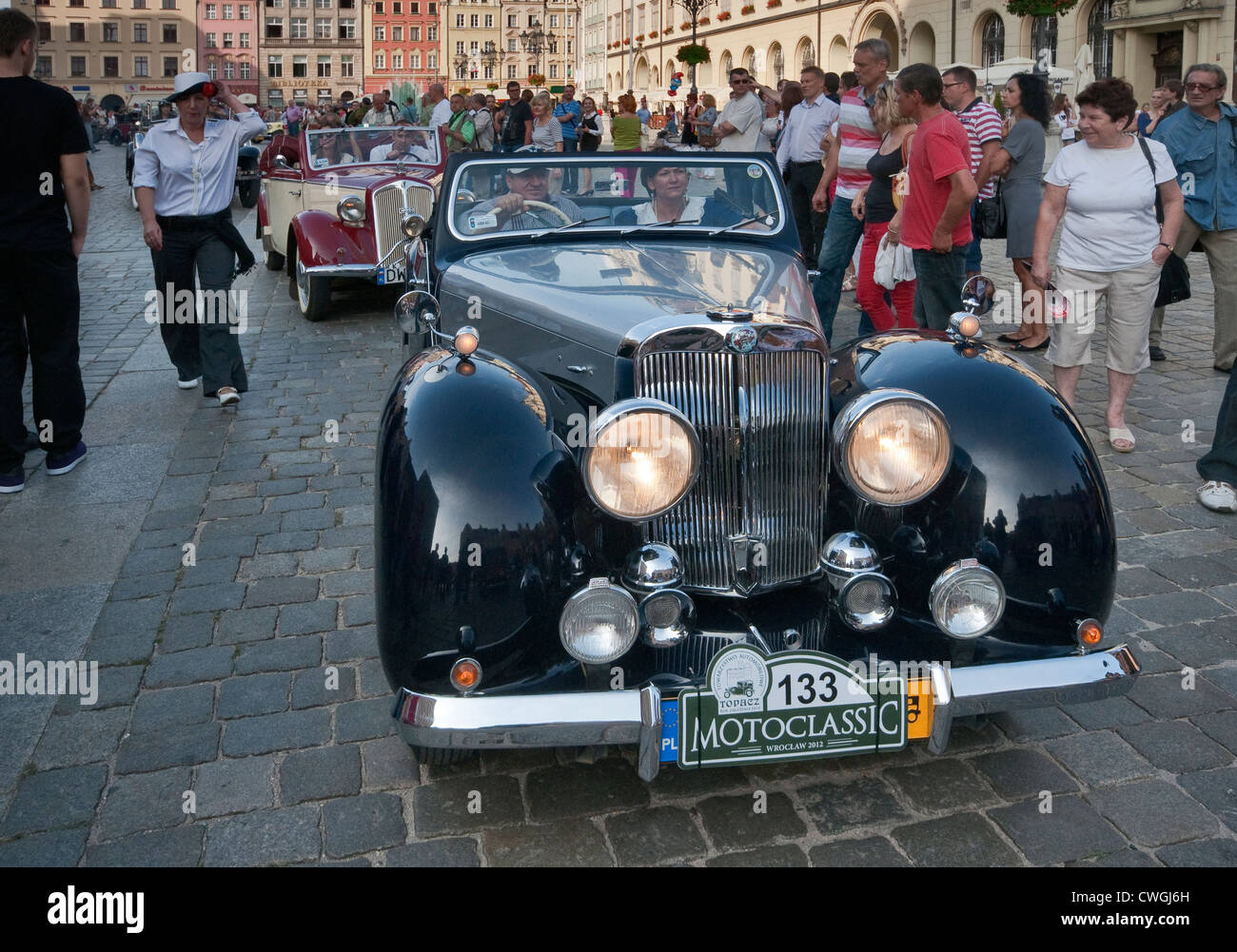 1949 Triumph 2000 Roadster at Motoclassic car show at Rynek (Market Square) in Wroclaw, Lower Silesia, Poland - Stock Image