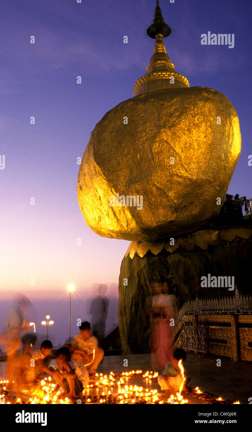 Golden Rock in the Blue Hour - Stock Image