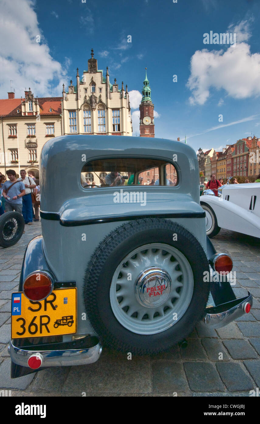 1930s Polski Fiat 508 at Motoclassic car show at Rynek (Market Square) in Wroclaw, Lower Silesia, Poland - Stock Image