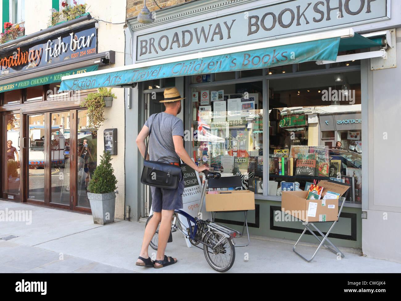 Broadway Bookshop, on trendy Broadway Market in Hackney, East London, E8, England, UK - Stock Image