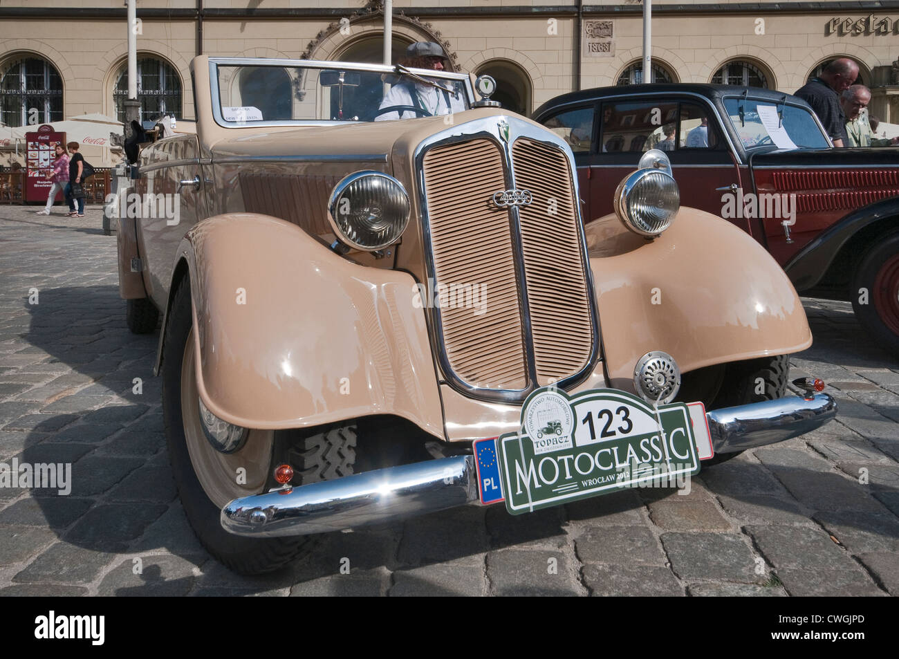 1937 DKW F7 roadster at Motoclassic car show at Rynek (Market Square) in Wroclaw, Lower Silesia, Poland - Stock Image