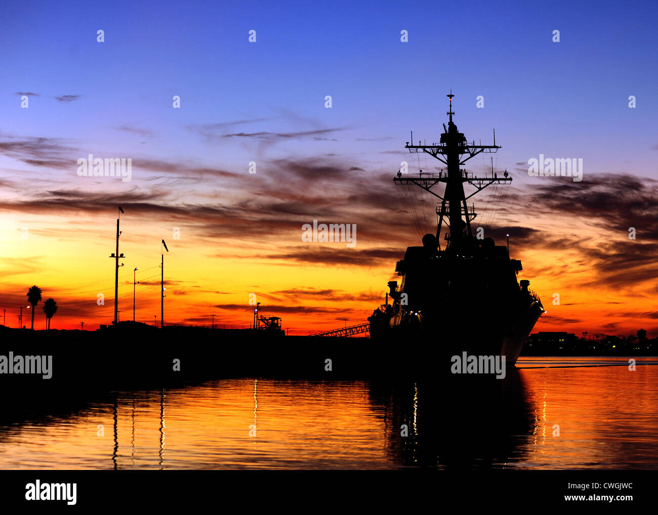 The Arleigh Burke-class guided-missile destroyer USS Spruance is pier side at Naval Weapons Station Seal Beach to - Stock Image