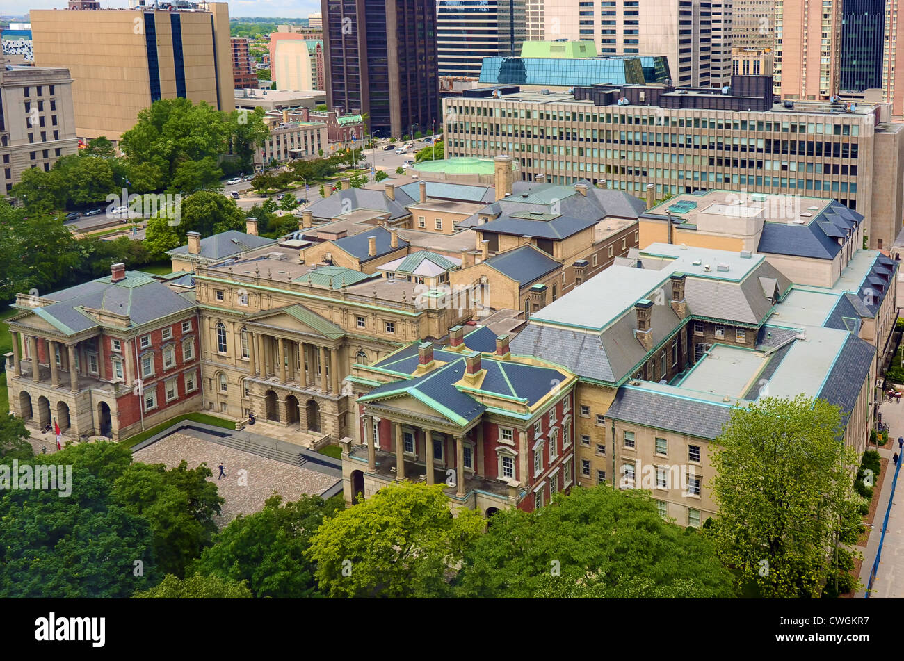 This 1829 building, Osgoode Hall, is headquarters of Ontario's legal profession, next door to City Hall, Toronto, - Stock Image