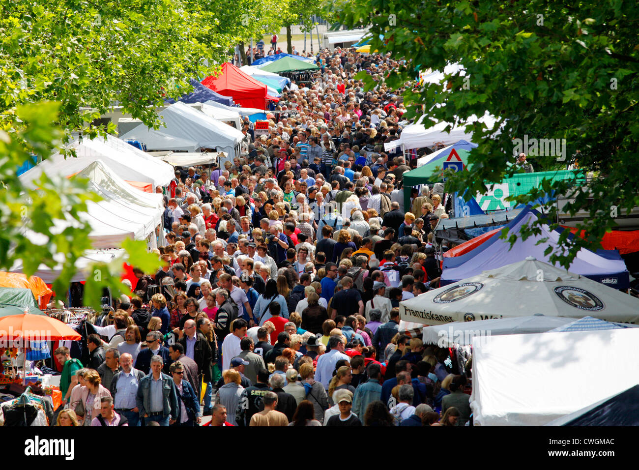Large Flea Market for everybody, second hand market. Essen, Germany, Europe - Stock Image