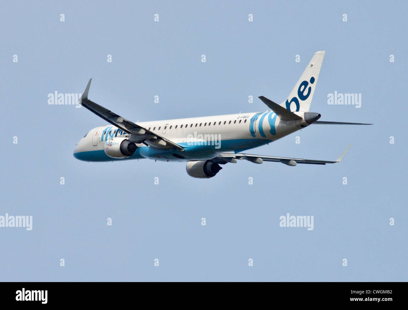 Flybe European Embraer ERJ-190-200LR, Gatwick Airport, Sussex, England - Stock Image