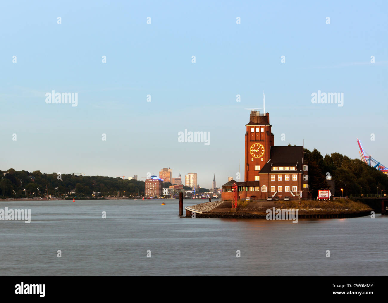 Pilot's Tower at the port entrance of Hamburg - Stock Image