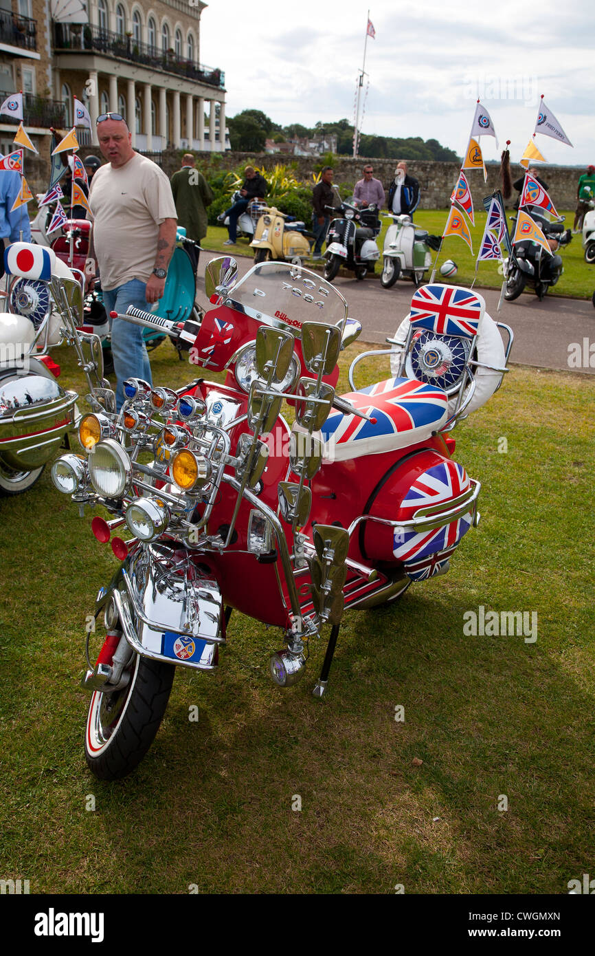 Scooters, Scooter Rally, Seafront, Esplanade, Ryde, Isle of Wight, England, UK, - Stock Image