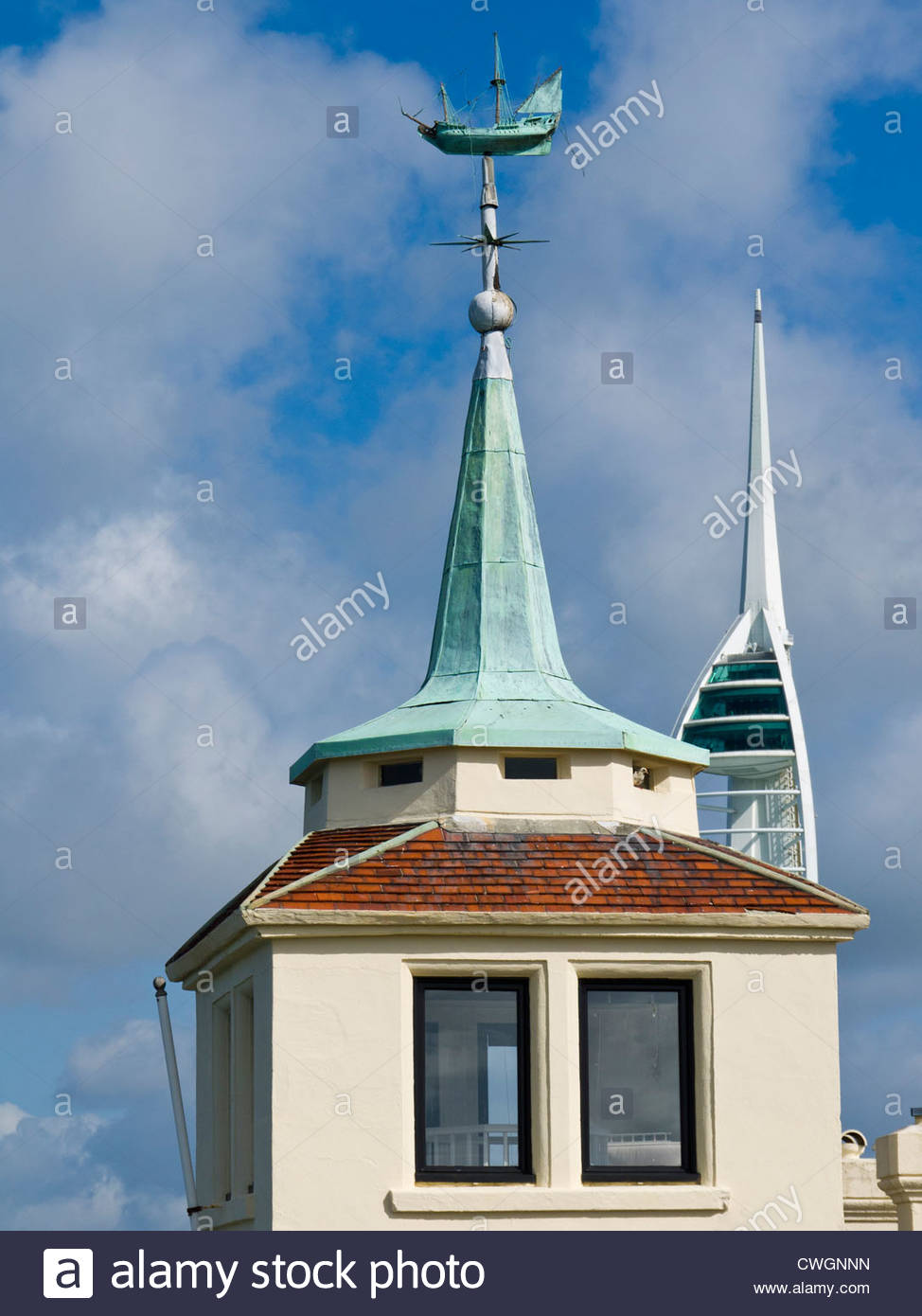 Old Tower House Tower contrasts with the Spinnaker Tower Portsmouth Hants England - Stock Image