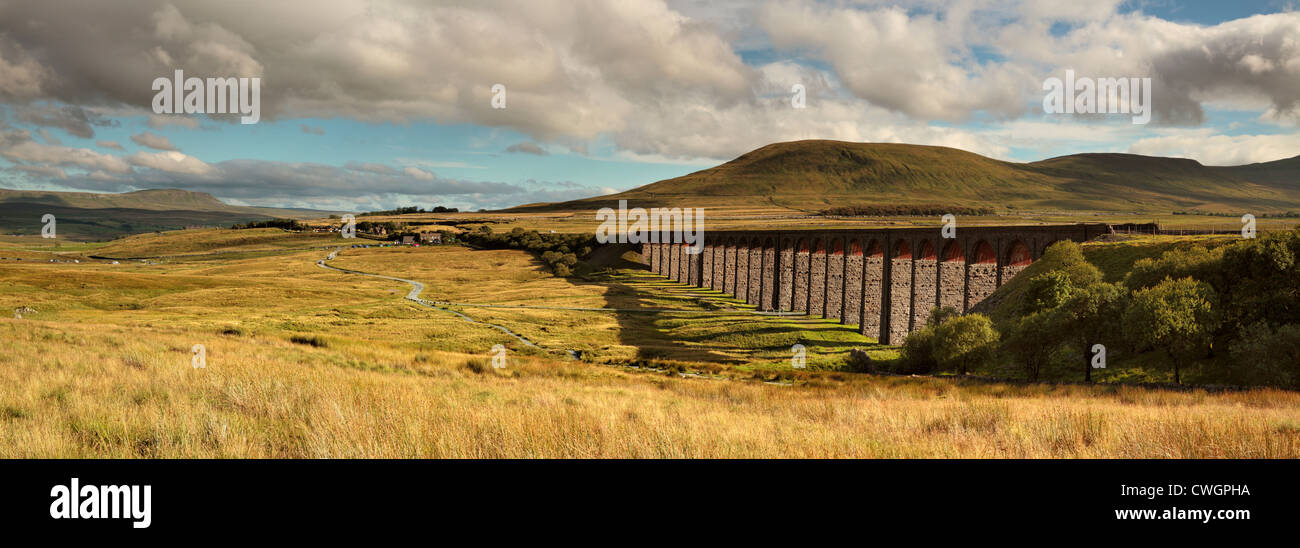 Ribblehead Viaduct in the Yorkshire Dales of England - Stock Image