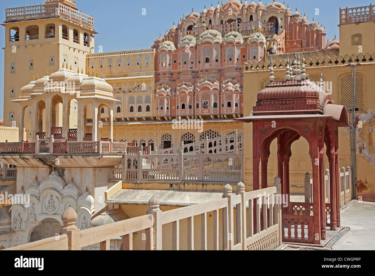 Hawa Mahal / Palace of the Winds in Jaipur, Rajasthan, India - Stock Image