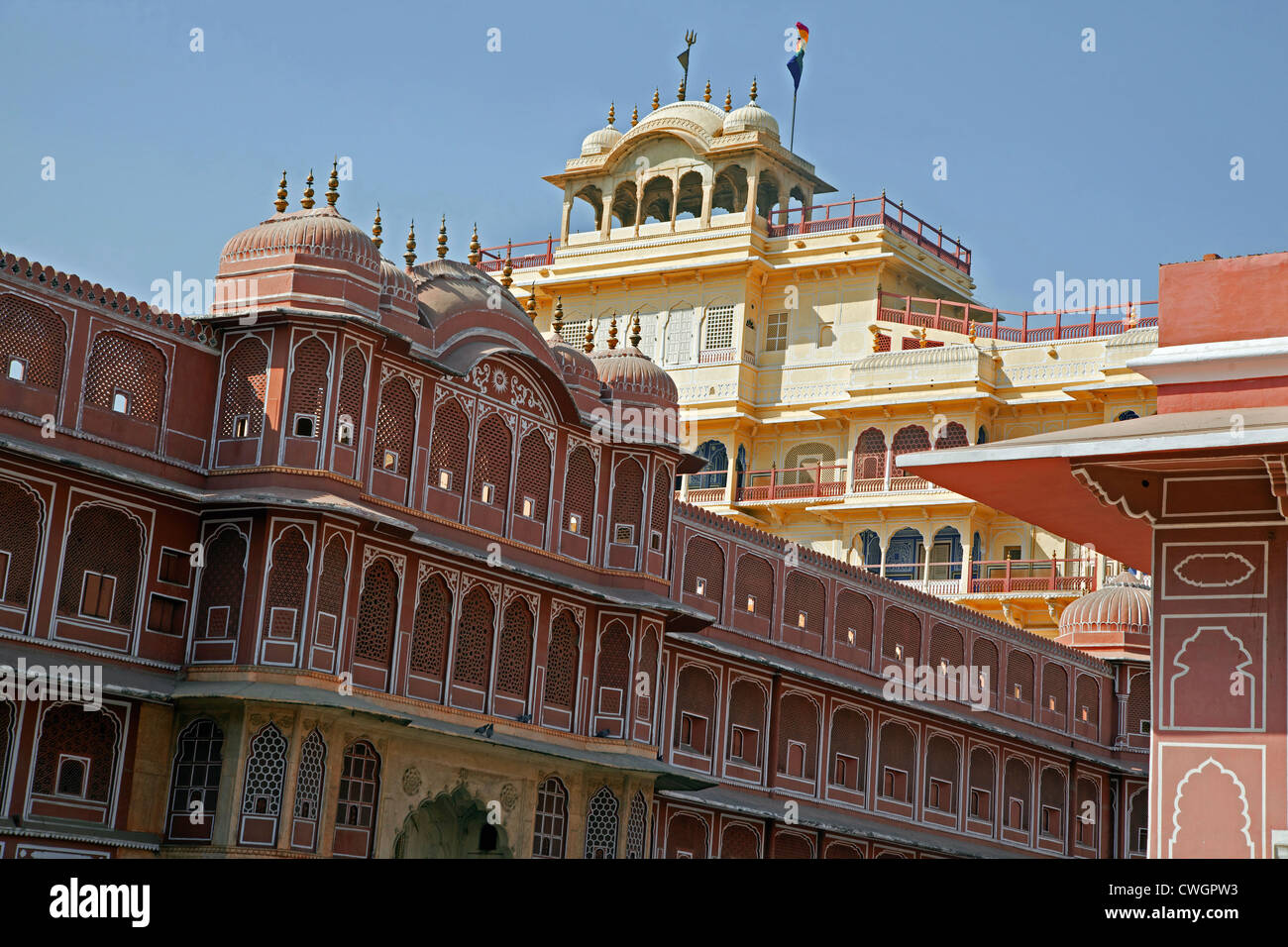Chandra Mahal / Chandra Niwas, most commanding building in the City Palace complex, Jaipur, Rajasthan, India - Stock Image