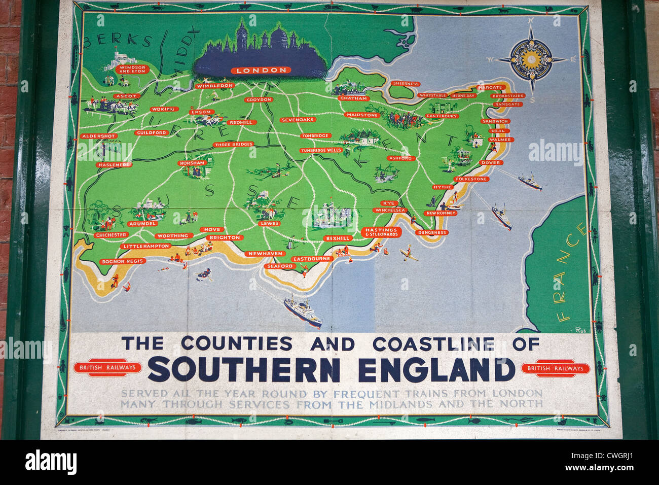 An old railway map of the counties and coastline of Southern England in Horsted Keynes Railway station on the Bluebell - Stock Image