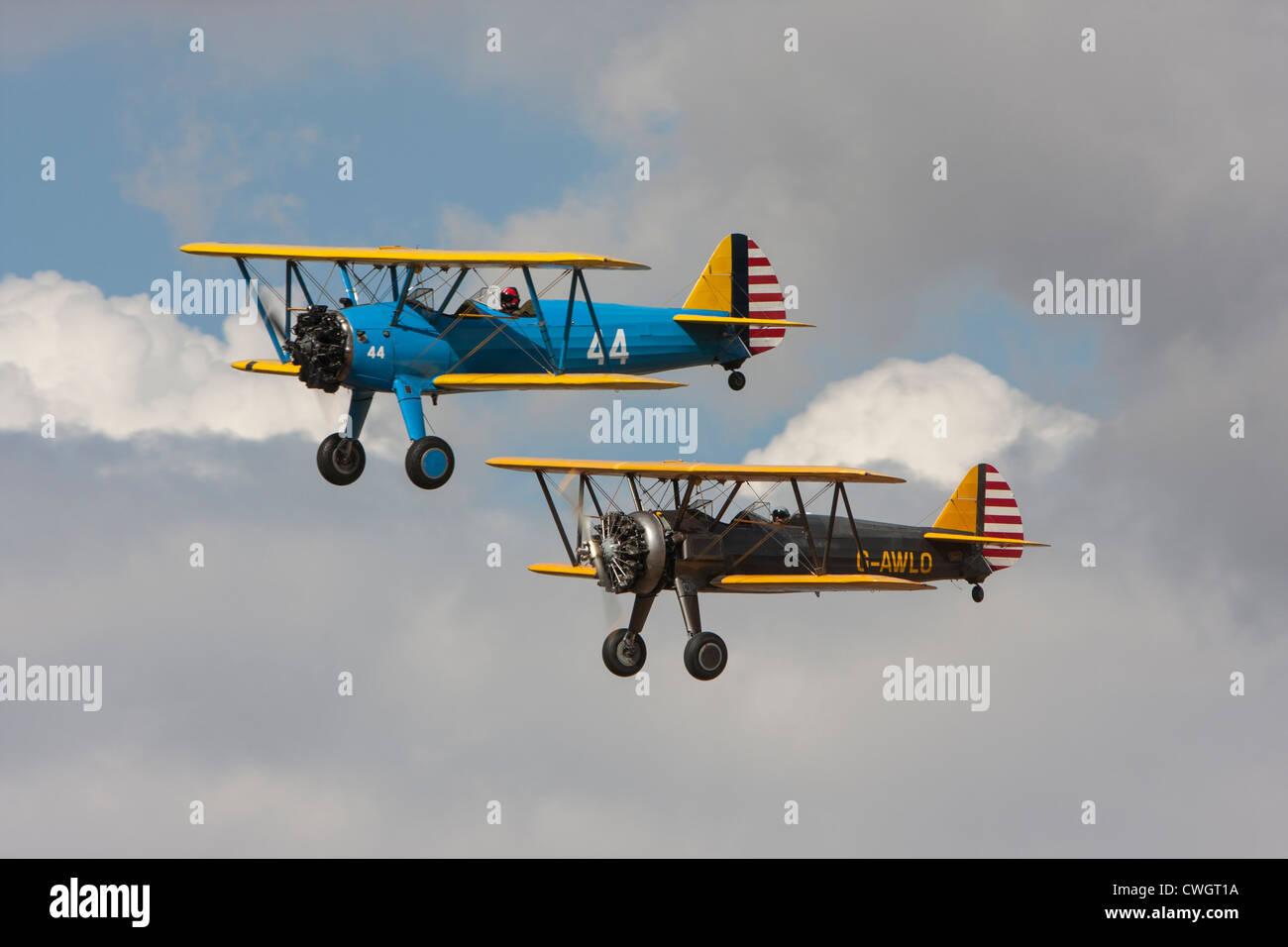 Boeing N2S-5 Kaydet reg G-AZLE and Boeing PT-13D Kaydet, reg G-AWLO - Stock Image