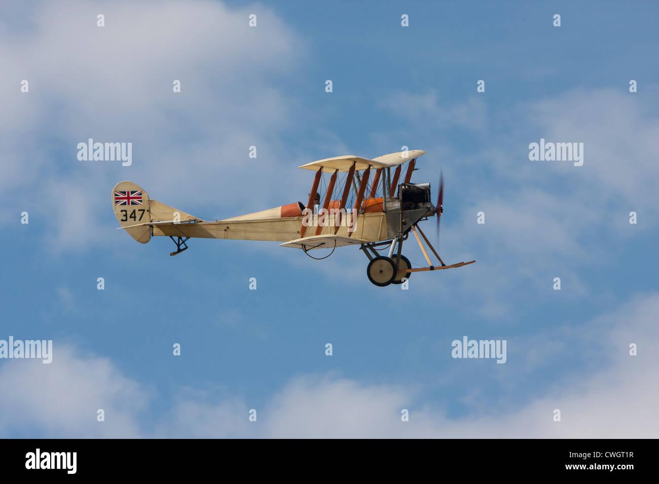 BE2c replica biplane, a reconnaissance aircraft of the First World War built by de Havilland - Stock Image