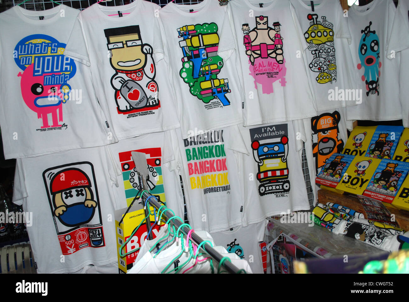 tee shirts different designs for tourists - Stock Image