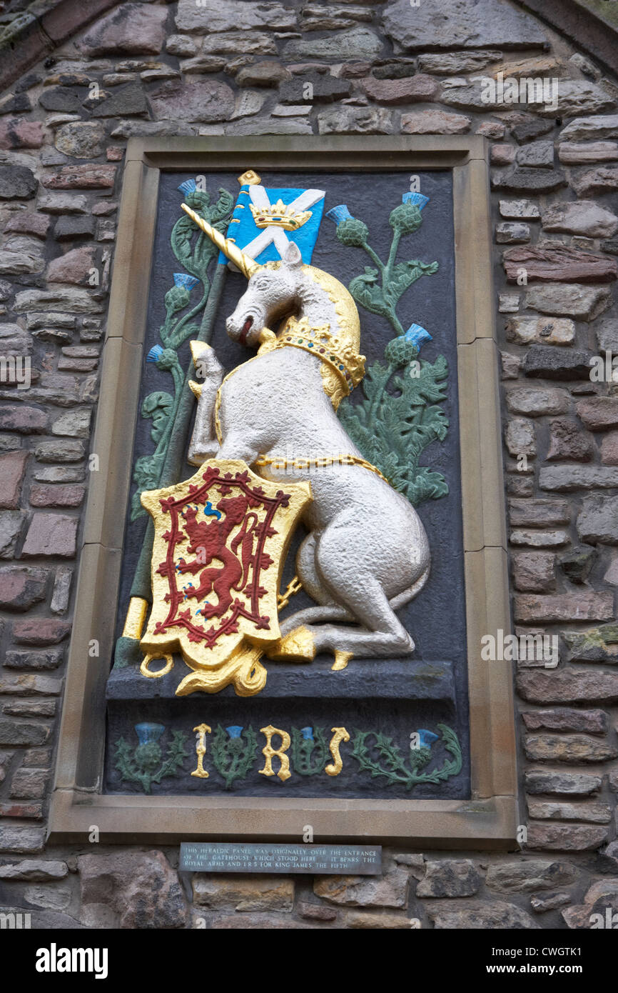 heraldic panel royal arms of king james the fifth v on the wall of the abbey courthouse holyrood edinburgh, scotland, - Stock Image