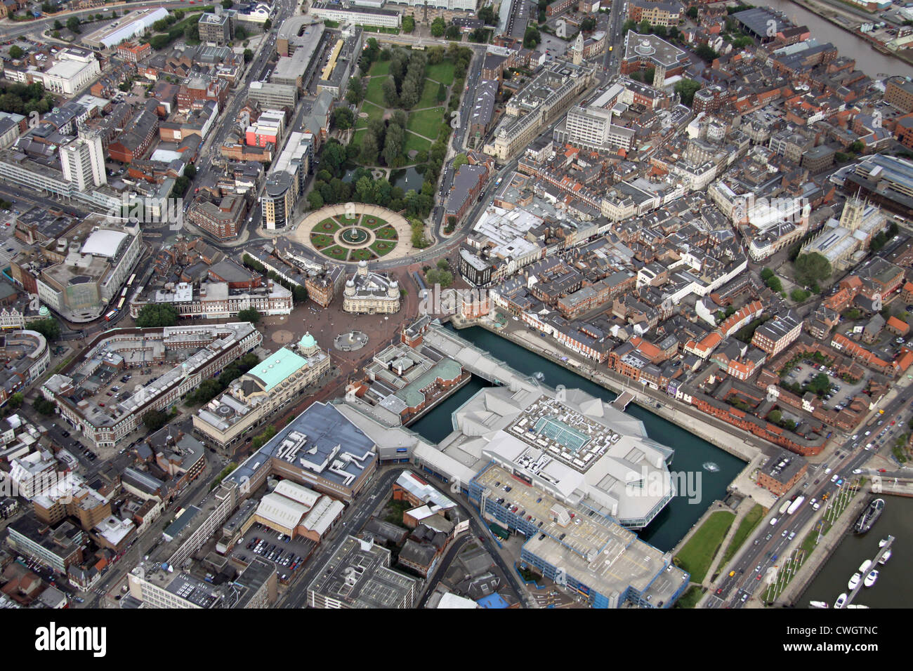 aerial view of central Hull, East Yorkshire - Stock Image