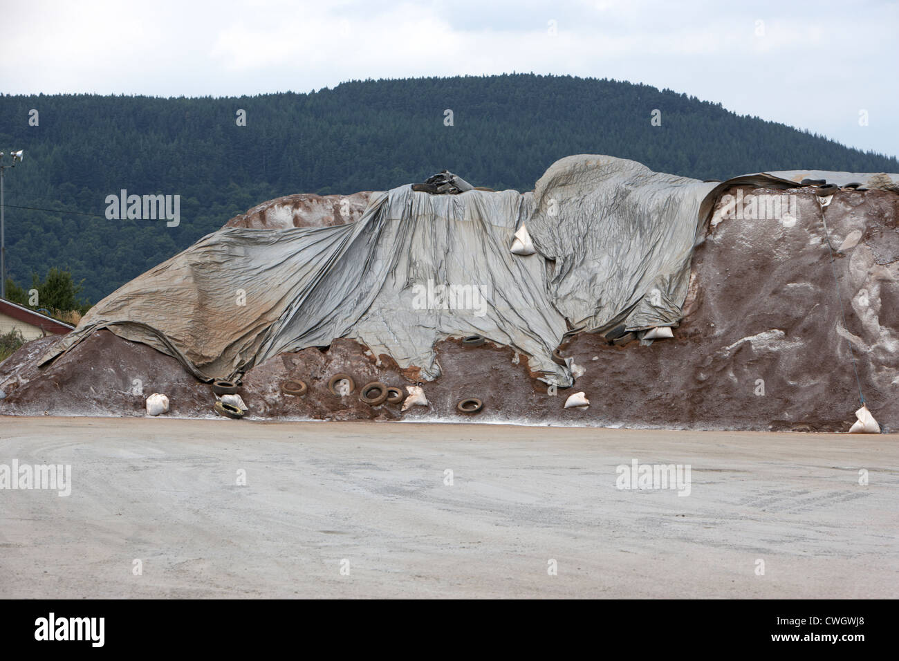 stockpile of road grit and salt in inverness highland Scotland, uk, united kingdom - Stock Image
