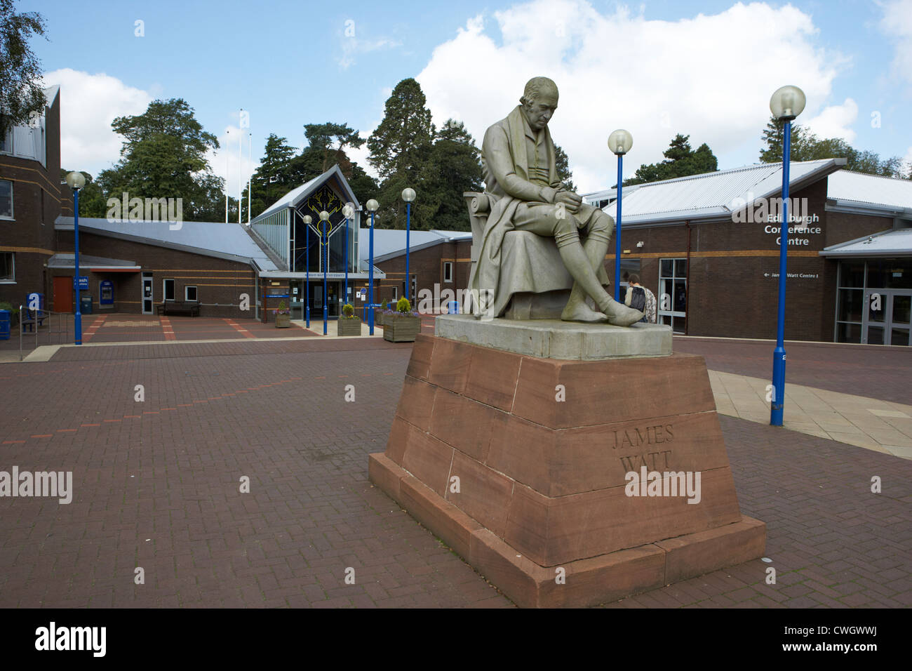 james watt statue outside heriot watt university edinburgh, scotland, uk, united kingdom - Stock Image