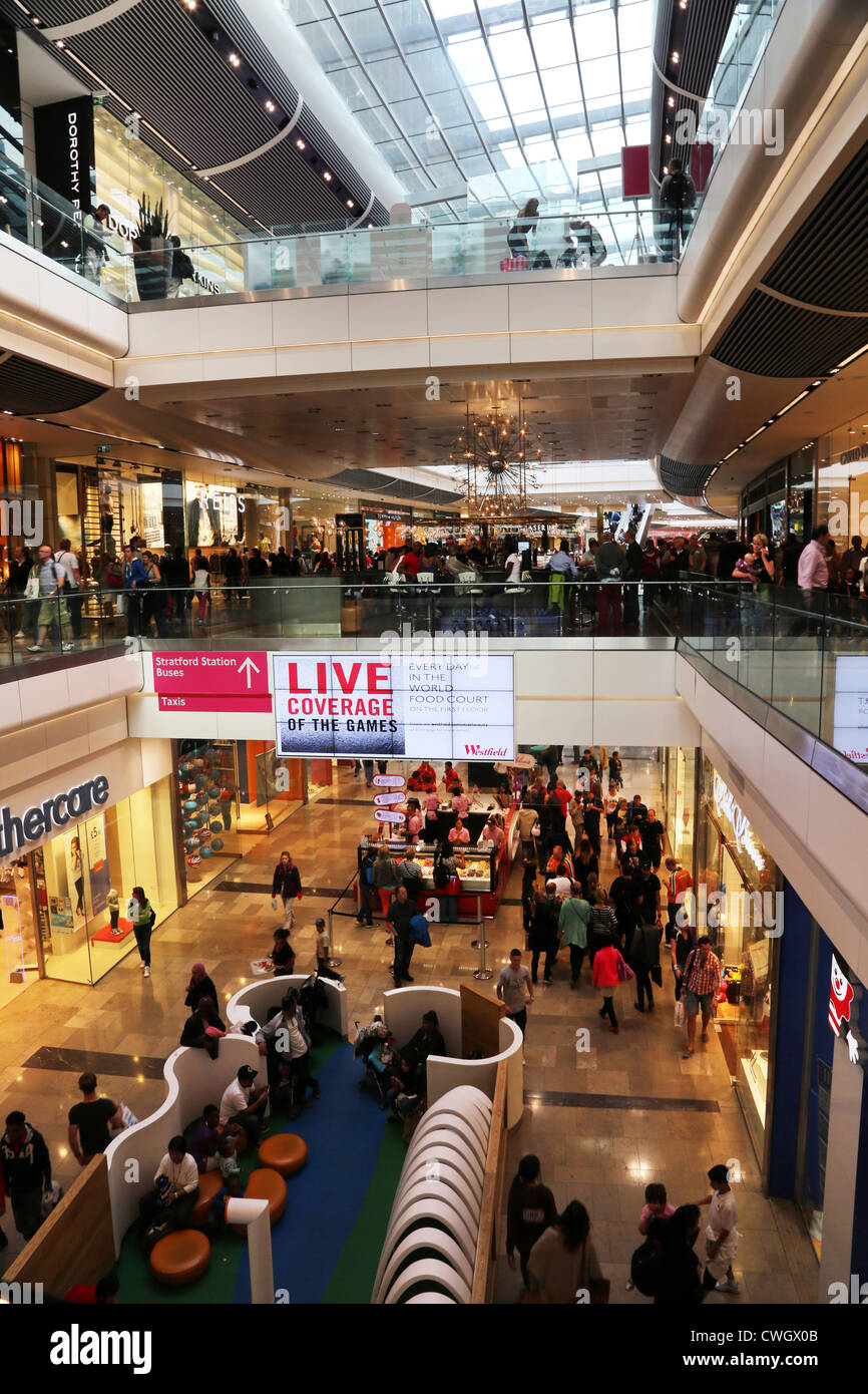 stratford London England Westfield Shopping Centre People Shopping Stock Photo