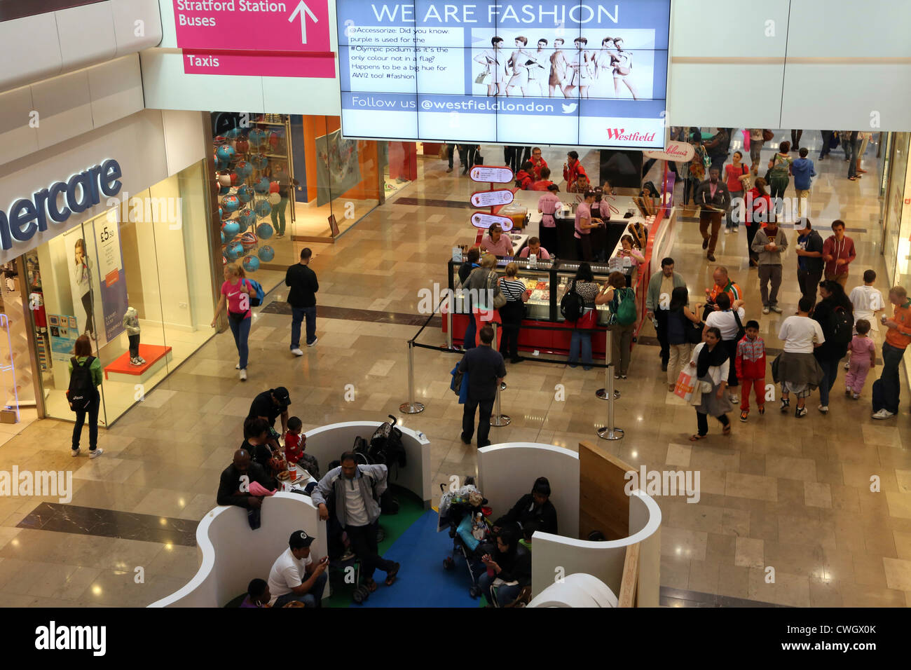 stratford London England Westfield Shopping Centre People Shopping And Ice Cream Stall - Stock Image