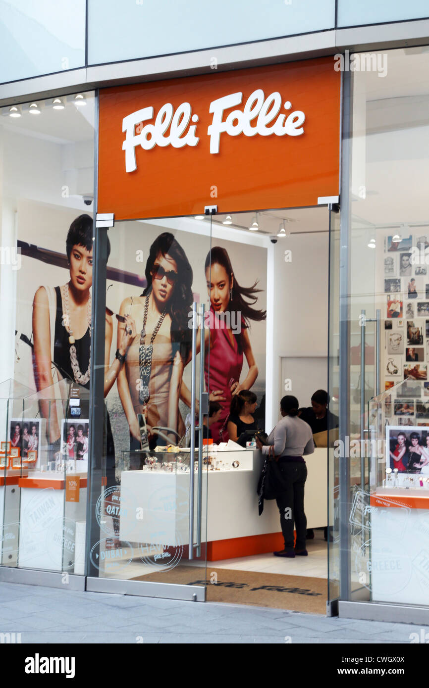 stratford London England Westfield Shopping Centre People Shopping In Folli Follie Accessories Shop - Stock Image