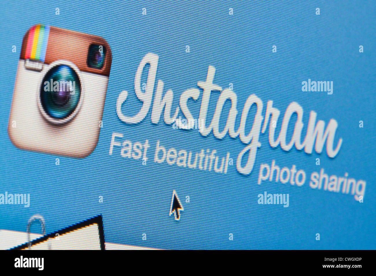 Close up of the Instagram logo as seen on its website. (Editorial use only: print, TV, e-book and editorial - Stock Image