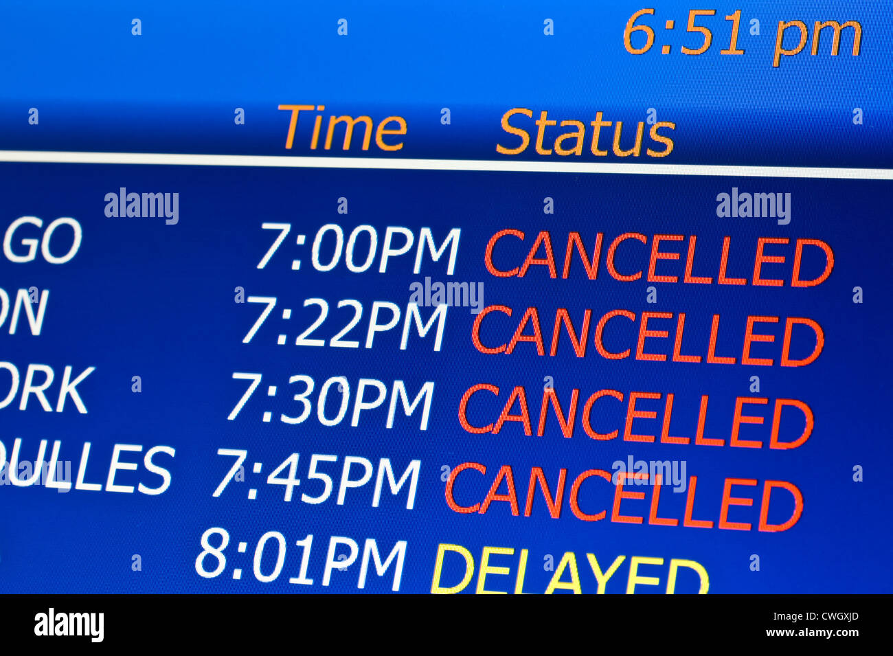 Cancelled flights at airport - Stock Image
