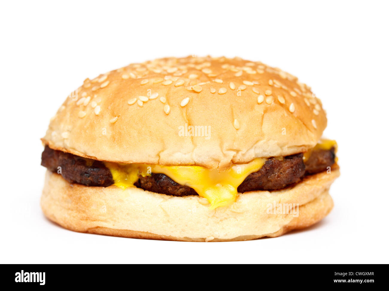 Fast food cheeseburger on white background - Stock Image