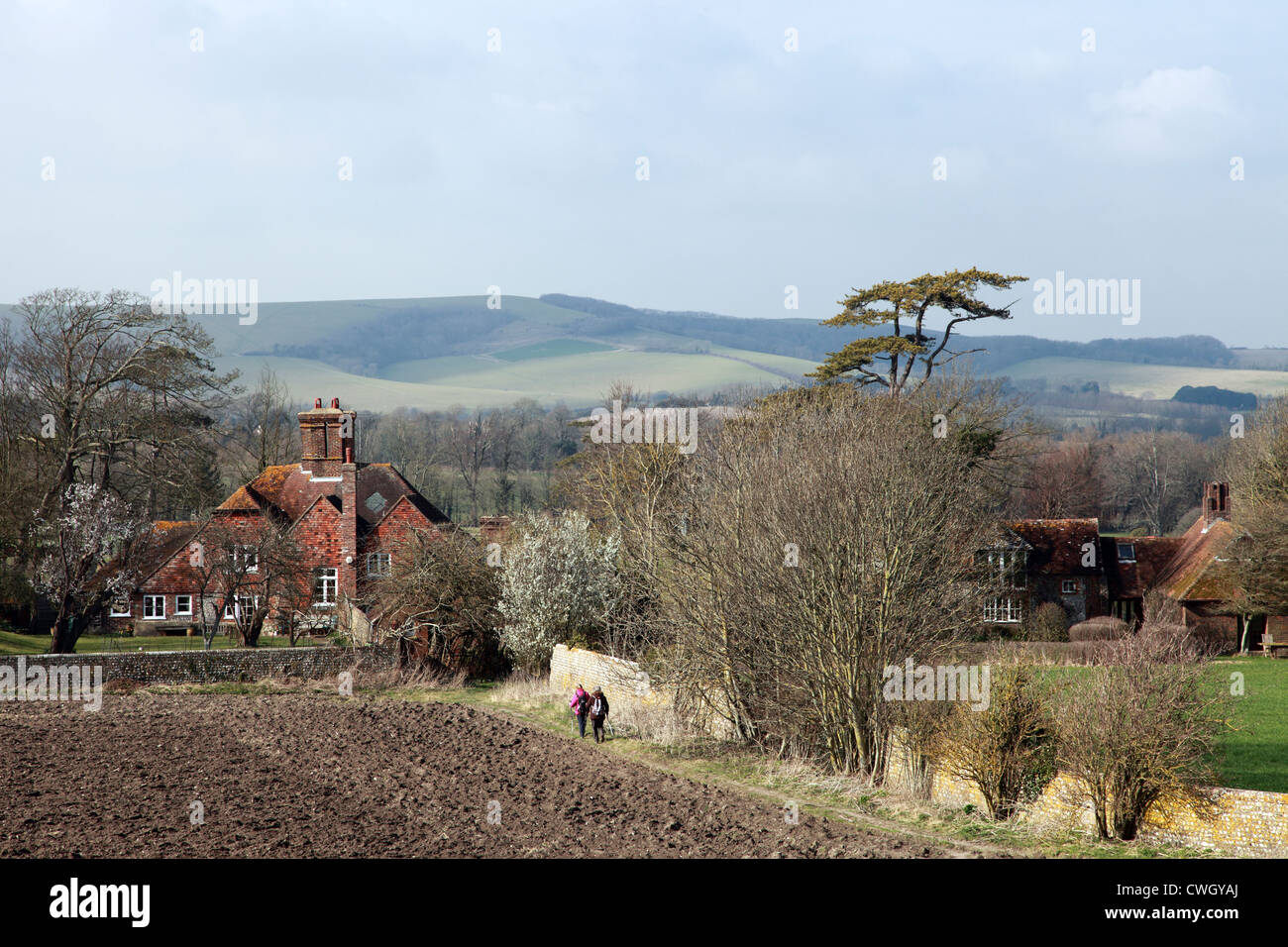 Country houses near Firle Place, East Sussex, England - Stock Image