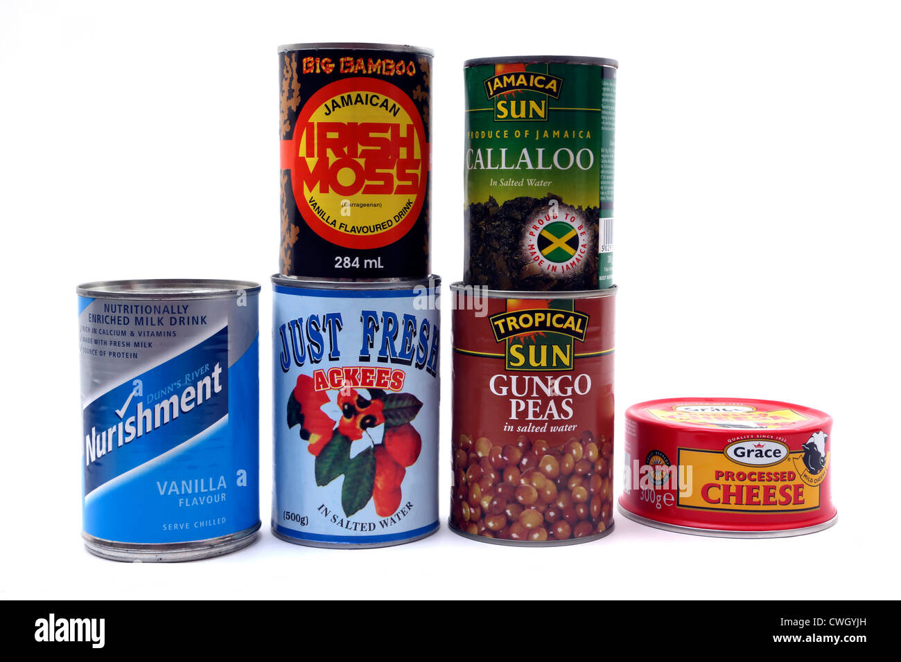 Tins Of Caribbean Food And Drink - Stock Image
