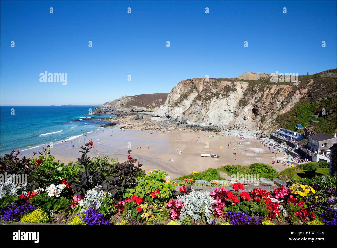 Trevaunance Cove, St Agnes, Cornwall, UK - Stock Image