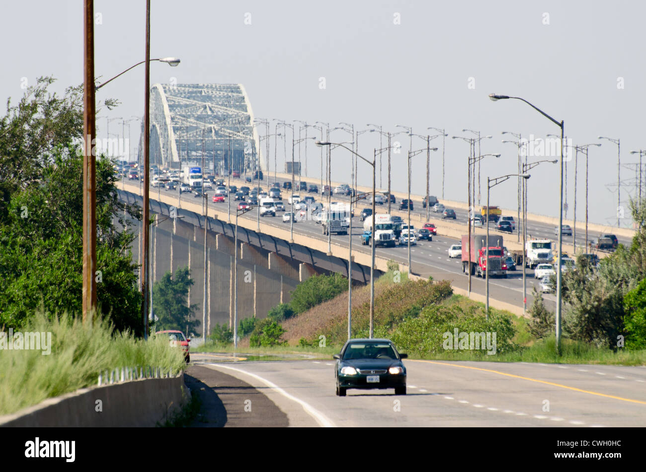 Hot day on Skyway bridge - Stock Image