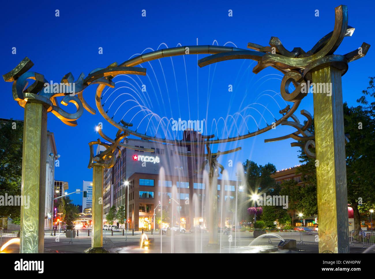Fountain in Riverfront Park on the Spokane River in Spokane, Washington - Stock Image