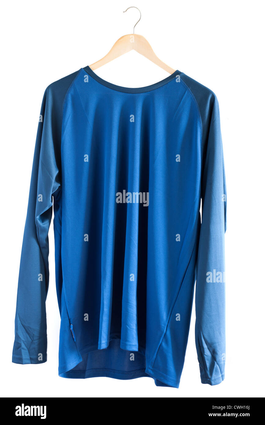 Mens XXL blue long sleeved thermal quick drying breathable base layer shirt - Stock Image