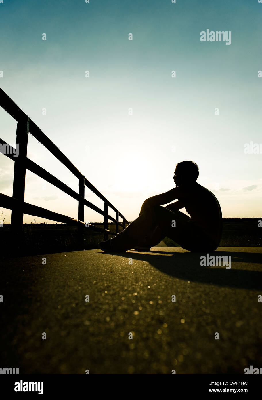 solitude,loneliness,silhouette - Stock Image